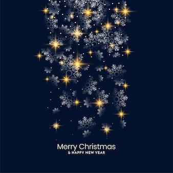 Diseño de fondo de feliz navidad de copos de nieve brillantes cayendo