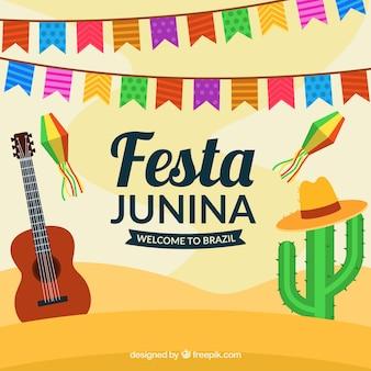 Diseño de fondo de festa junina en el desierto