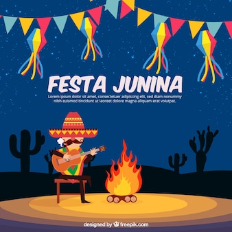 Diseño de fondo de festa junina con hoguera