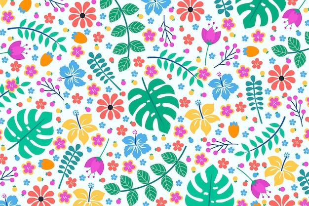Diseño de fondo floral exótico colorido