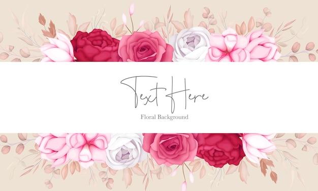 Diseño de fondo floral granate dulce romántico