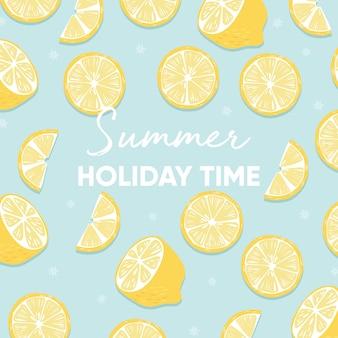 Diseño de fondo de fruta con lema de tipografía de vacaciones de verano y fruta de limón fresco sobre fondo azul.