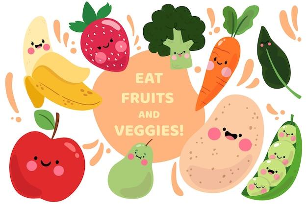 Diseño de fondo de frutas y verduras