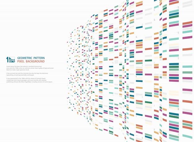 Diseño de fondo geométrico cuadrado colorido moderno abstracto de decoración de malla ondulada de tecnología.