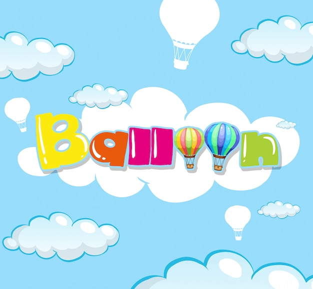 Diseño de fondo con globo en cielo azul