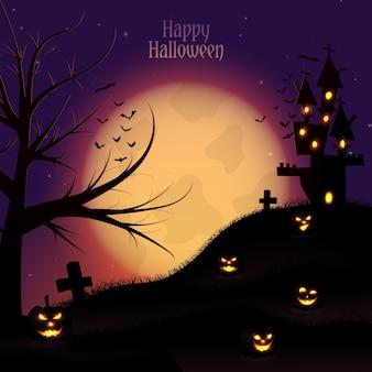 Diseño de fondo de halloween con árbol y casa