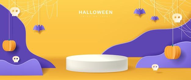 Diseño de fondo de halloween con forma cilíndrica de exhibición de productos, estilo de corte de papel.