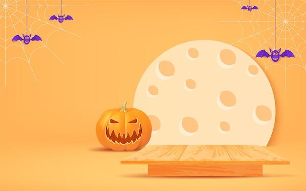 Diseño de fondo de halloween con podio de madera, anuncios de banner de halloween para promoción