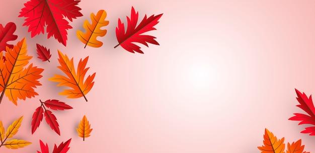 Diseño de fondo de hojas de otoño con espacio de copia