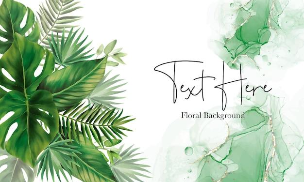 Diseño de fondo de hojas verdes dibujadas a mano
