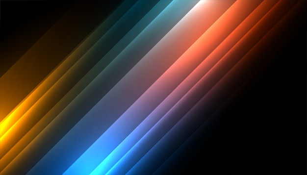 Diseño de fondo de líneas brillantes de colores en diagonal