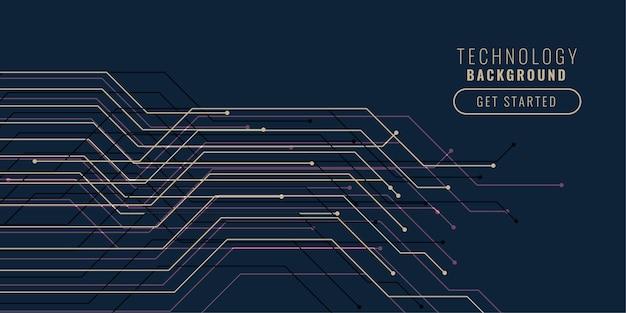 Diseño de fondo de líneas de circuito de tecnología