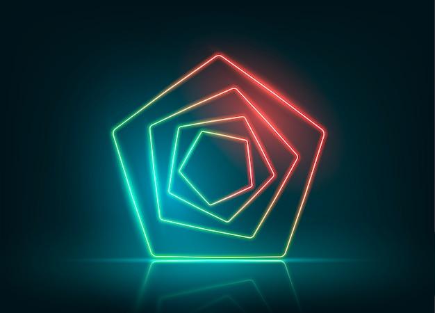 Diseño de fondo de luces de neón. figura de neón del pentágono.