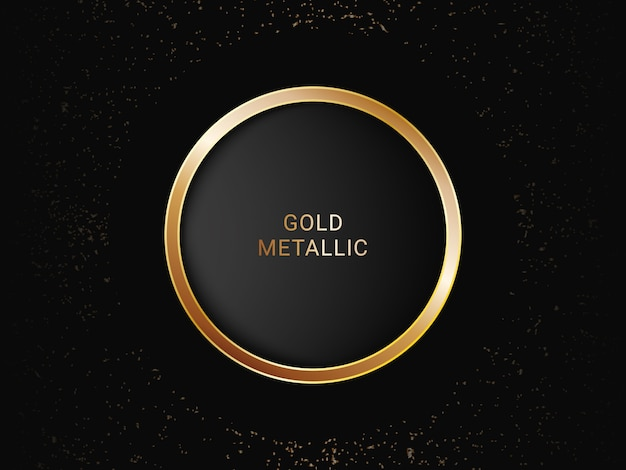 Diseño de fondo de lujo de forma de círculo de oro metálico