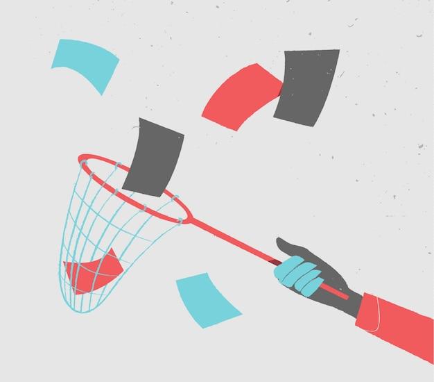 Diseño de fondo de mano atrapando papeles