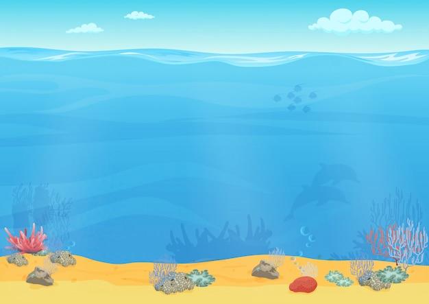 Diseño de fondo de mar de dibujos animados