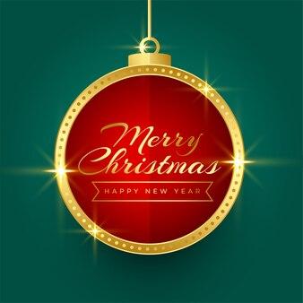 Diseño de fondo de marco de bola de navidad dorada brillante