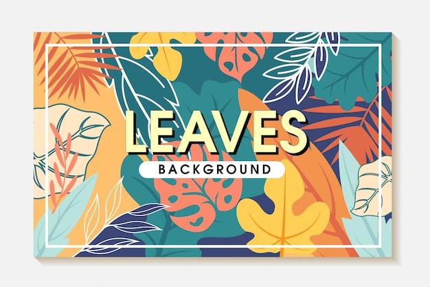 Diseño de fondo de marco de cubierta a todo color de hojas tropicales