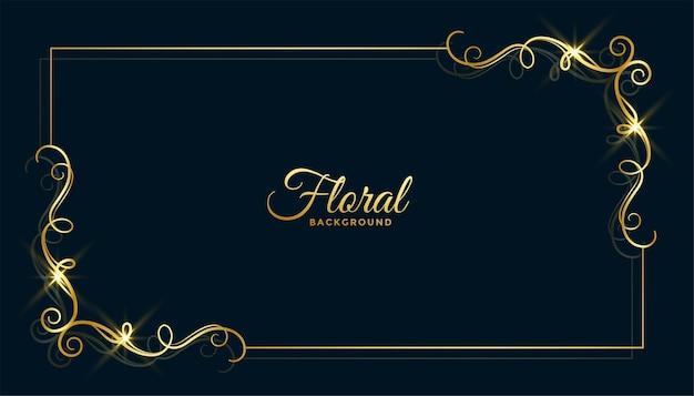 Diseño de fondo de marco floral dorado
