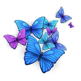 Diseño de fondo de mariposas.