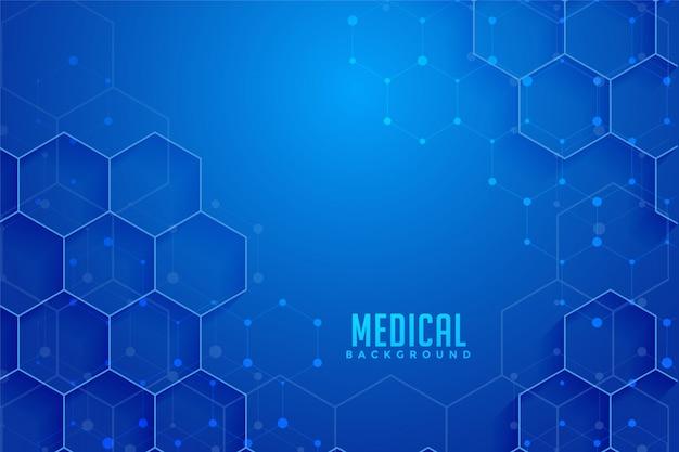 Diseño de fondo médico y sanitario hexagonal azul