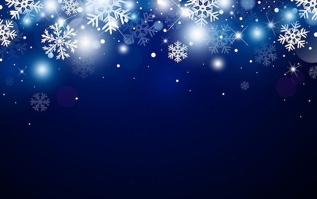 Diseño de fondo de navidad de copo de nieve y bokeh con efecto de luz