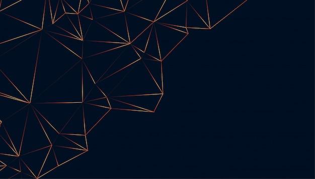 Diseño de fondo negro abstracto brillante bajo poli