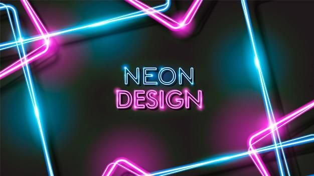 Diseño de fondo negro neón brillante abstracto