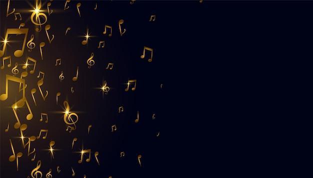 Diseño de fondo de notas musicales doradas