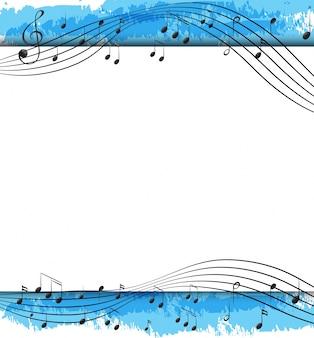 Diseño de fondo con notas musicales en escalas