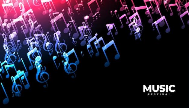 Diseño de fondo de notas de sonido de música
