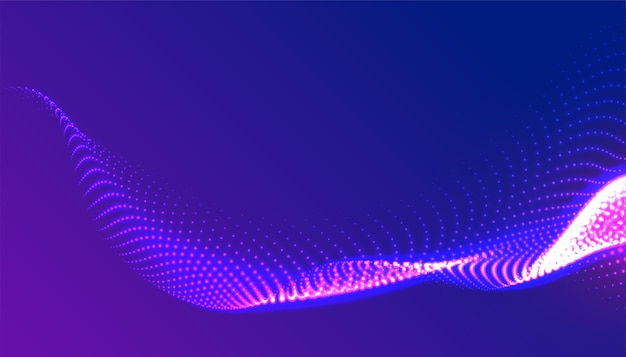 Diseño de fondo de onda de partículas púrpura brillante digital