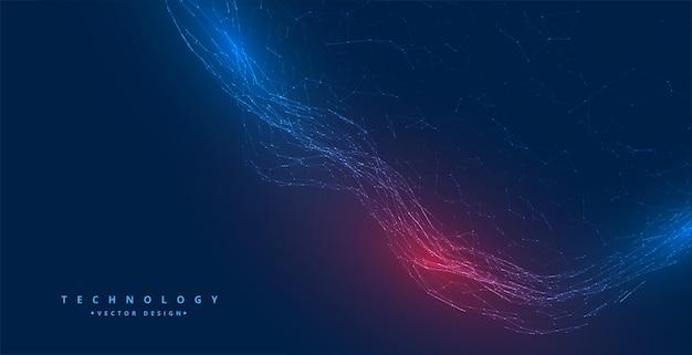 Diseño de fondo de onda de partículas de red de tecnología digital