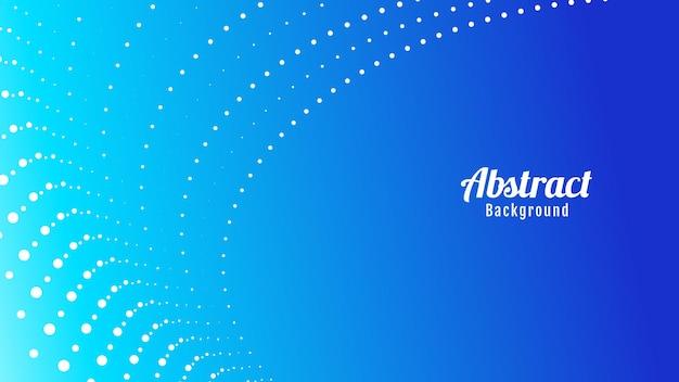 Diseño de fondo de ondas abstractas de puntos de partículas azules y blancas