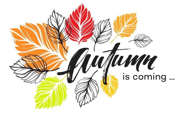 Diseño de fondo de otoño con coloridas hojas de otoño. ilustración de vector eps10