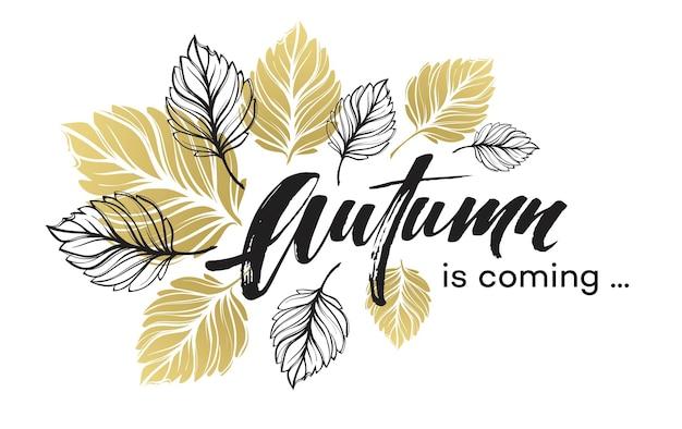 Diseño de fondo de otoño con hojas de otoño doradas y negras. ilustración de vector eps10