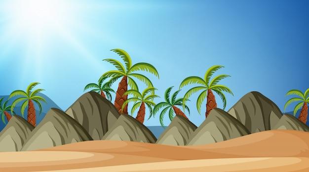 Diseño de fondo de paisaje de playa y montaña