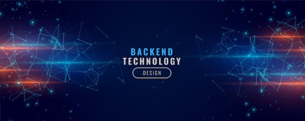 Diseño de fondo de partículas de concepto de tecnología de banner de back-end digital