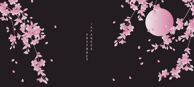 Diseño de fondo de patrón abstracto de estilo japonés oriental cielo nocturno negro luna llena y flor de cerezo flor de sakura