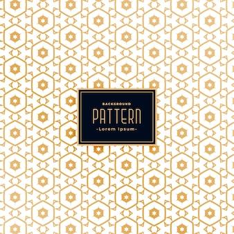 Diseño de fondo de patrón blanco dorado de estilo hexagonal