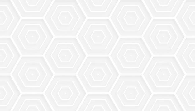 Diseño de fondo de patrón blanco hexagonal de estilo 3d
