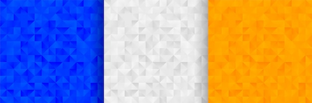Diseño de fondo de patrón de triángulos abstractos en tres colores