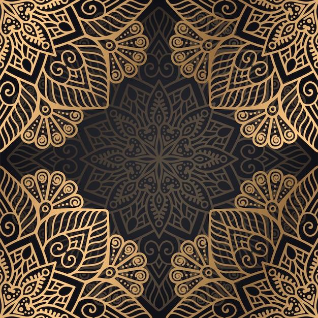 Diseño de fondo de patrones sin fisuras mandala en color negro y dorado
