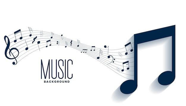 Diseño de fondo de pentagrama de notas musicales