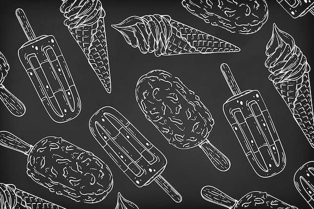 Diseño de fondo de pizarra de helado