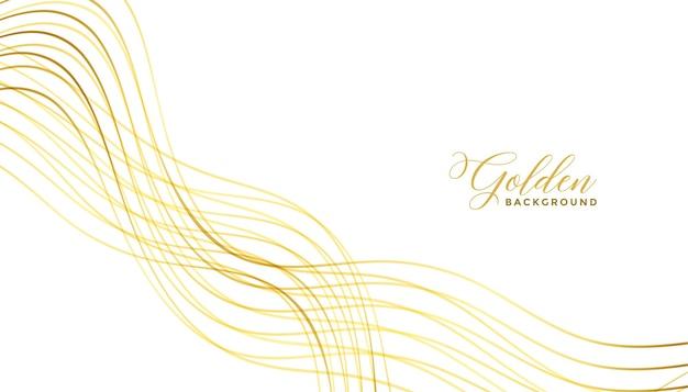 Diseño de fondo premium de líneas doradas onduladas