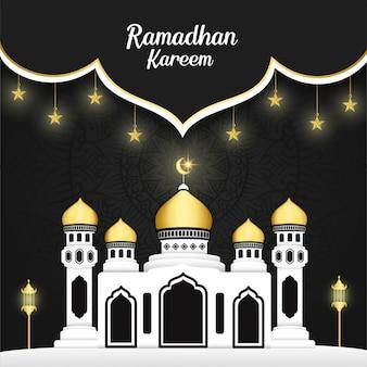 Diseño de fondo ramadhan kareem con edificio, mandala y estrellas brillantes