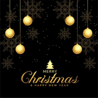 Diseño de fondo de saludo de feliz navidad negro y dorado