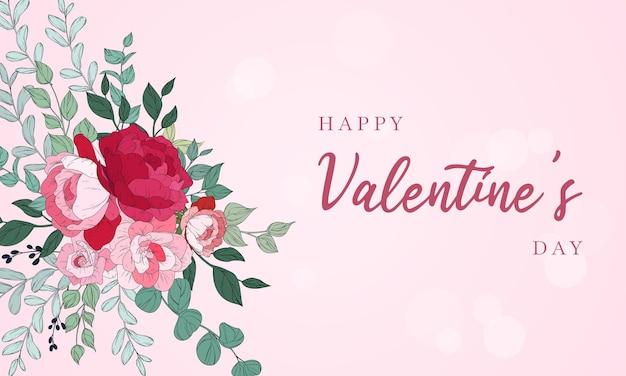 Diseño de fondo de san valentín con hermosas flores.