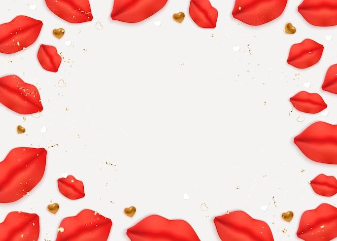Diseño de fondo de san valentín con labios y corazones realistas.